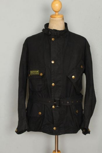 BARBOUR A7 International WAXED Jacket Belted Black Size 50 XXL